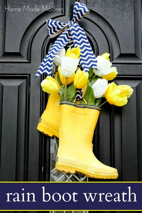rubber boot decoration rain boots on front door