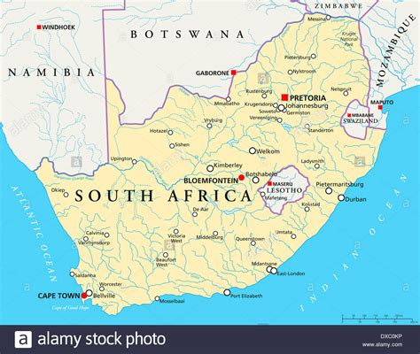 south africa map with cities political map of south africa with capitals pretoria