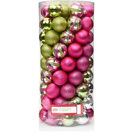 holiday time christmas ornaments shatterproof set of 101 time 60mm traditional fuchsia green and metallic silver shatterproof