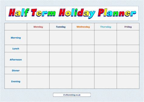 printable school holiday planner school holiday week planners free printables