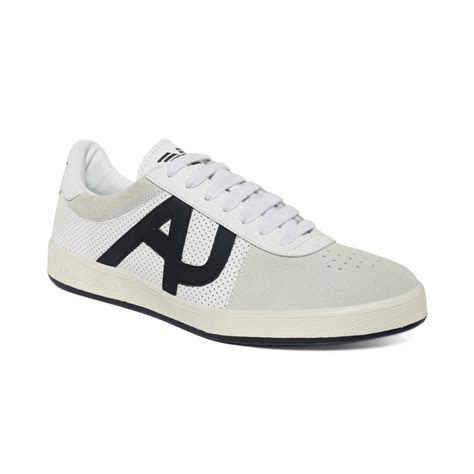 armani sneakers mens armani perforated leather sneakers in white for