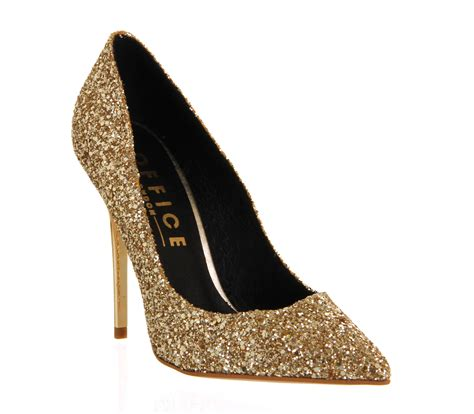 High Heels Gliter Rra Gold womens office on top gold glitter heels ebay