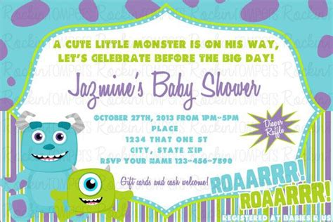 Invitation Inc monsters inc inspired baby shower invitation babies shower invitations and monsters inc baby