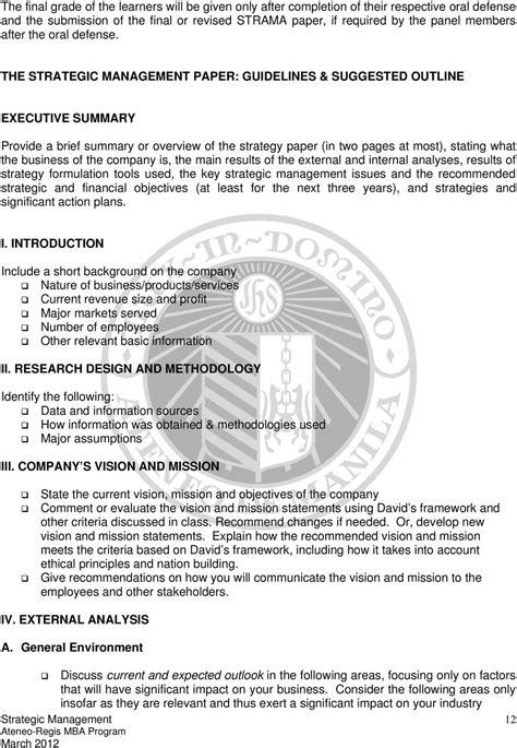 Regis Mba Strategic Management by Ateneo Graduate School Of Business Rockwell Center Makati