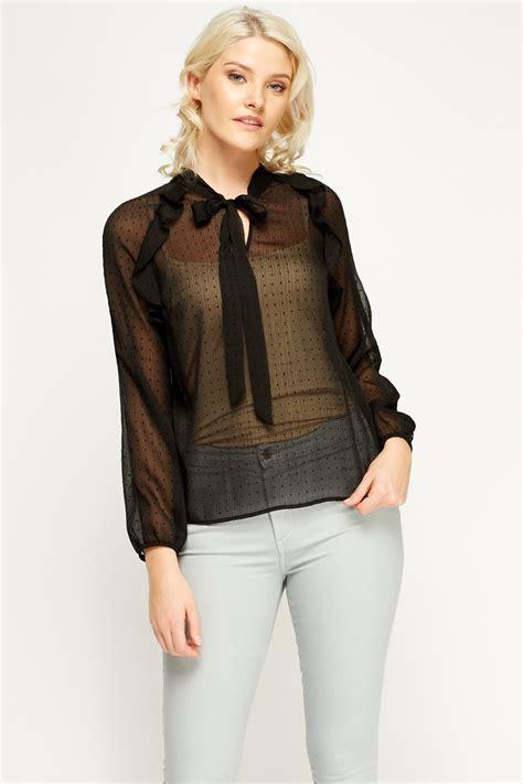 Pb8 Polkadot Blouse black sheer polka dot blouse just 163 5