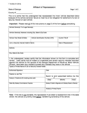 Bill Of Sale Form Georgia Affidavit Of Repossession Templates Fillable Printable Sles For Repossession Order Form Template