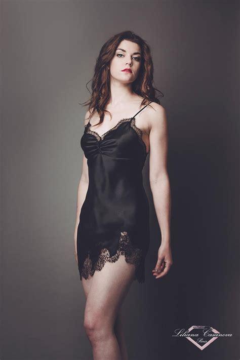 Lingerin Black silk slip with lace hem liliana casanova balleroy