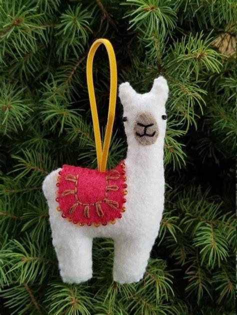 llama ornament hanging decoration alpaca decor wool felt christmas hand stitched  tree
