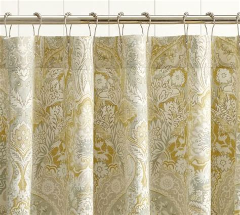 damask shower curtains celeste damask shower curtain pottery barn