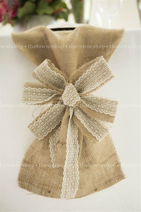 how to place burlap bow and burlap streamers on christmas tree burlap ecru lace 9 quot bows w streamers wedding decor pew bow chair sash ebay