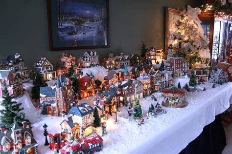 christmas village themes priscillas christmas foyer and dining room 2012