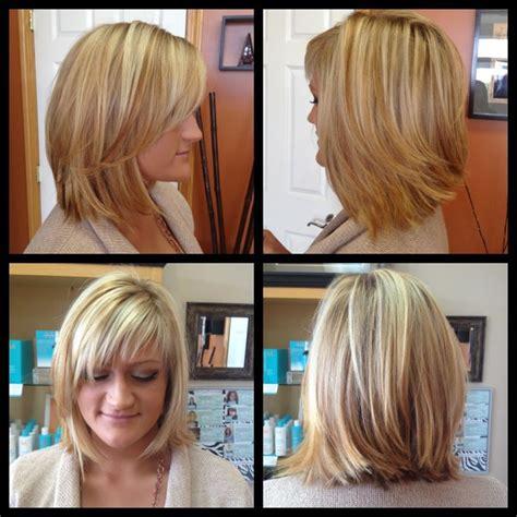 blonde straight bob haircut with wispy bangs hairstyle balayage highlights w chesnut lowlights angled bob
