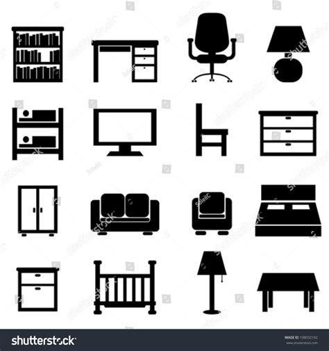 house office furniture icon set stock vector