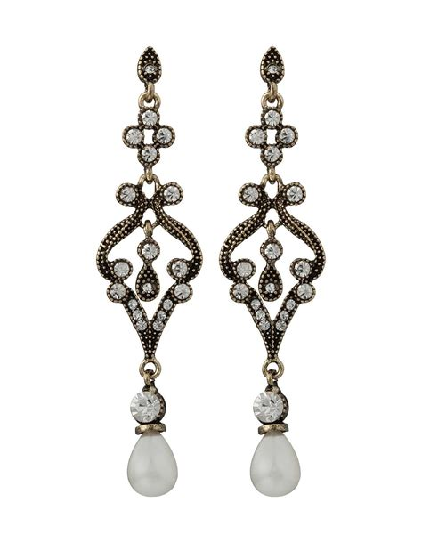 Cz Drop Earring antique drop earring with cz and pearl