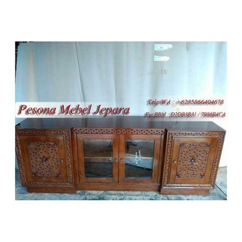 Lemari Kayu Pendek bufet tv pendek minimalis tutul kayu jati pesona mebel jepara