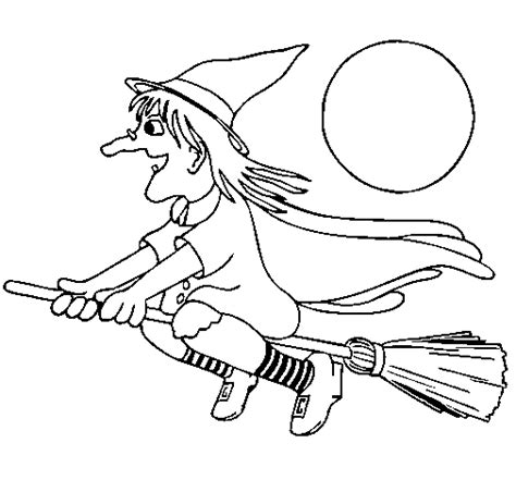 flying witch coloring page witch on flying broomstick coloring page