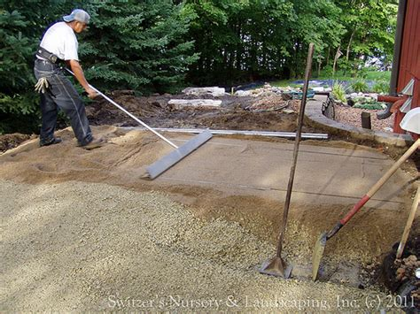 Leveling Patio Pavers Privacy Pergola And Paver Walk During Installation Of Leveling Sand Course For Paver Patio A
