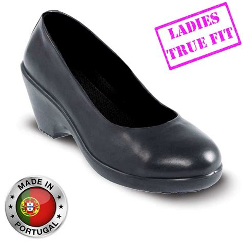 womens high heel steel toe shoes lavoro grace esd executive black leather safety