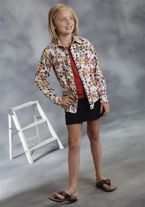 roper® girls white floral printed poplin long sleeve snap
