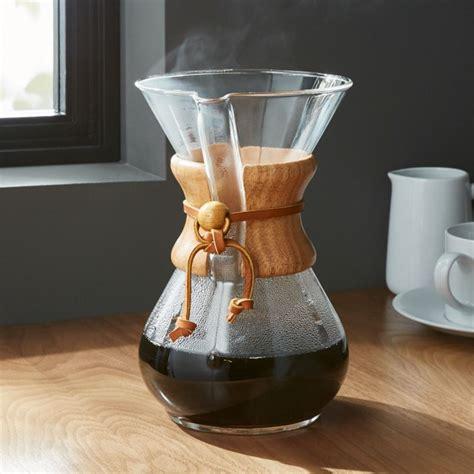 chemex cup coffeemaker wood collar reviews crate barrel