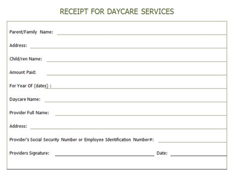 receipt for year end daycare services daycare printables