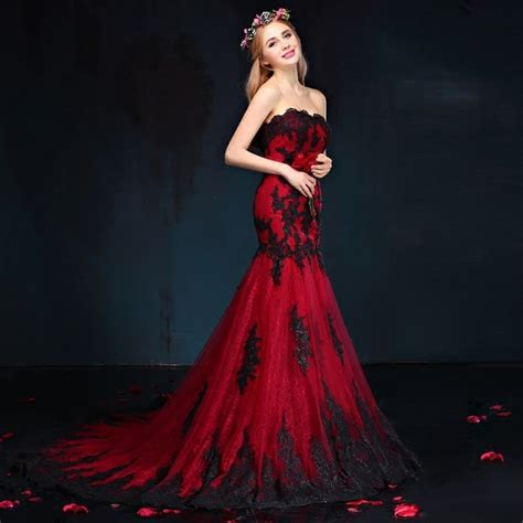 wine red black lace wedding dress 2017 new elegant tube
