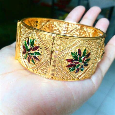 Gelang Lapis Emas 18k Batu Bunga Kecil Perhiasan Imitasi Mewah Bb054 jual gelang india import lapis emas 18k 02 tokocjdw