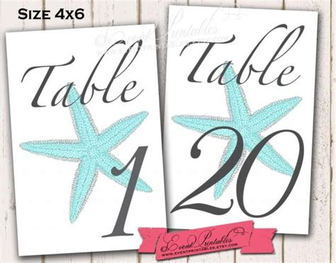 printable table numbers 1 20 1 to 20 printable starfish table numbers aqua 4x6 diy