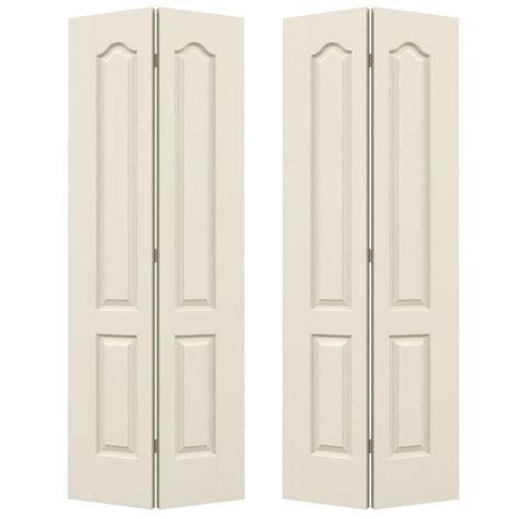 Closet Bifold Doors Jeld Wen 72 In X 80 In Woodgrain 2 Panel Eyebrow Top Hollow Molded Interior Closet