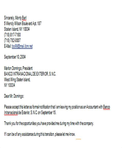Sle Resignation Letter Retail by 31 Simple Resignation Letter Sles Free Premium Templates