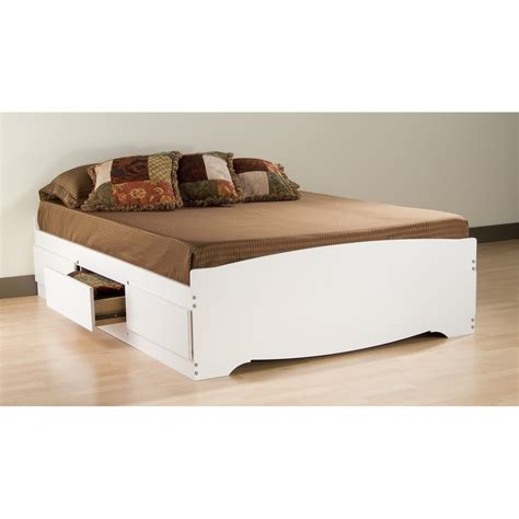 Platform Bed With Storage Drawers Prepac White Mate S Platform Storage Bed With 6 Drawers