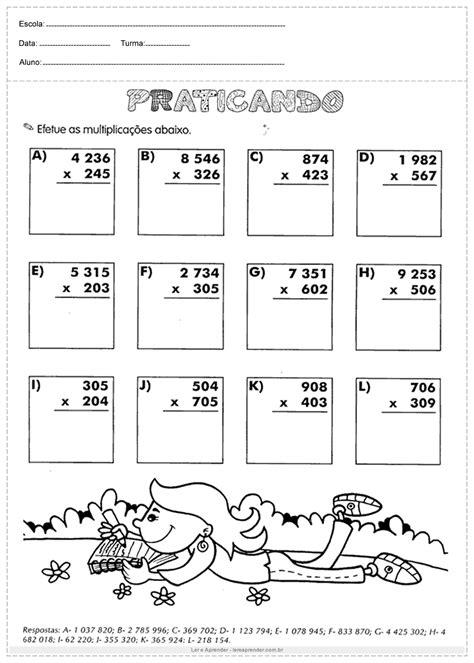 Praticando Multiplicação - Atividades de Matemática 4º ano