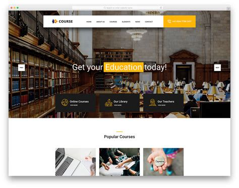 20 Best Free Education Website Templates With Premium Features 2018 Course Website Template