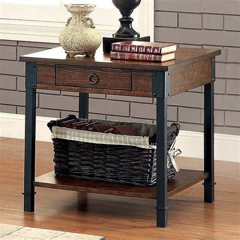 rustic metal and wood end tables seth rustic storage wood end table with black metal accents