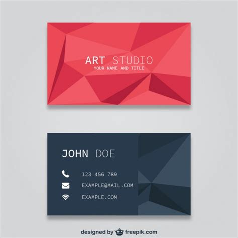 Business Card Templates Free Vector by Polygonal Business Card Templates Free Vector 123freevectors