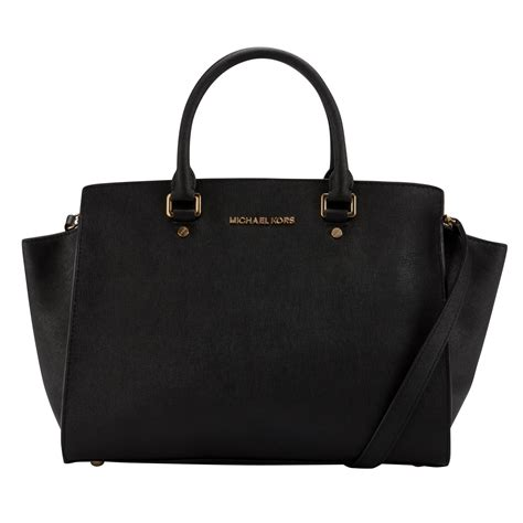 michael michael kors selma leather large tote bag  black