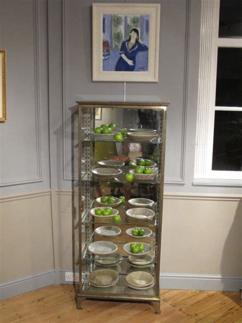 brass and glass display cabinet 1920s 40s glass and brass display cabinet