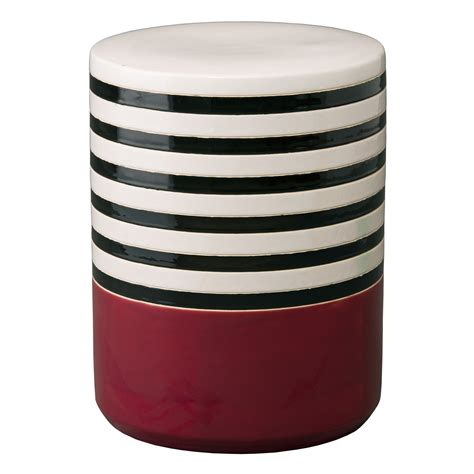 Burgundy Colored Stool by Burgundy Striped Glaze Ceramic Garden Stool