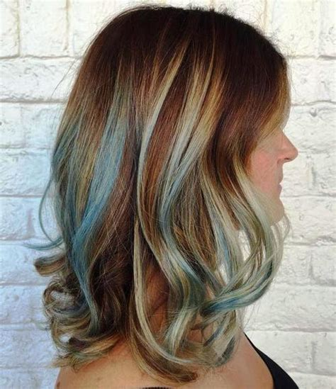brown hair with blonde and blue highlights gimme the blues bold blue highlight hairstyles