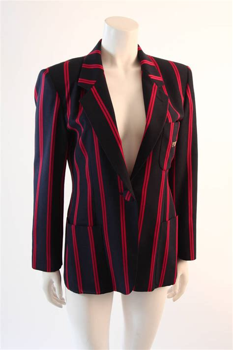Sale Jacket 3 In 1 World Chion 1990s moschino couture navy and striped wool carnival jacket quot push quot pocket for sale at 1stdibs