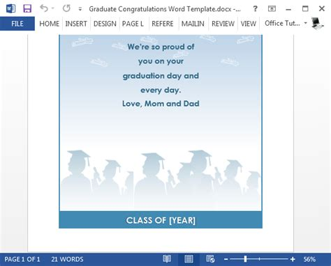 Card Insert Template Free For Graduation by Free Graduation Congratulations Card Template For Word