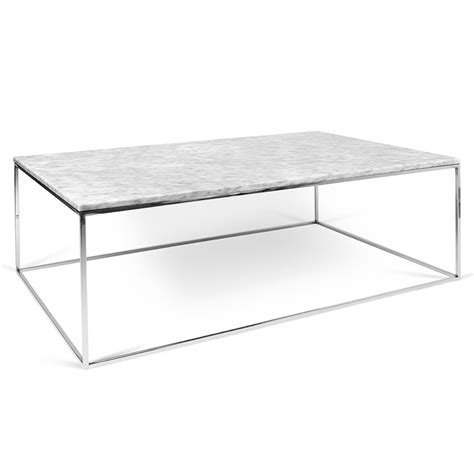 marble top coffee table rectangle temahome gleam white marble chrome rect coffee table