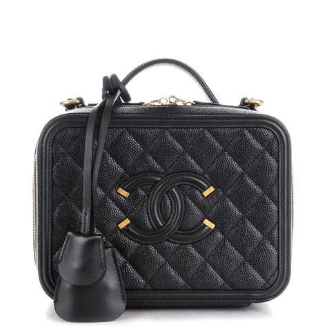 Chanel Cc Filigree Vanity Bag 1145 Tas Fashion Wanita Impor chanel caviar quilted medium cc filigree vanity black 152118