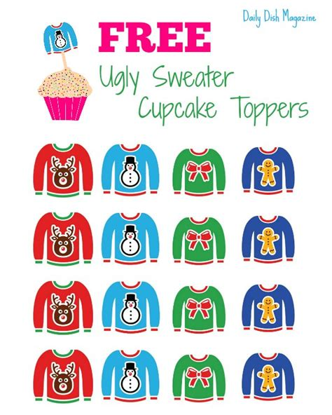 free ugly sweater printables cupcake toppers to make your cakes look just bright ideas