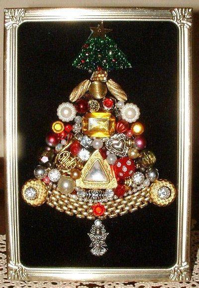 vintage jewelry miniature framed jeweled christmas tree