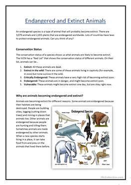 Endangered Species Worksheet by 7 Free Esl Extinct Worksheets