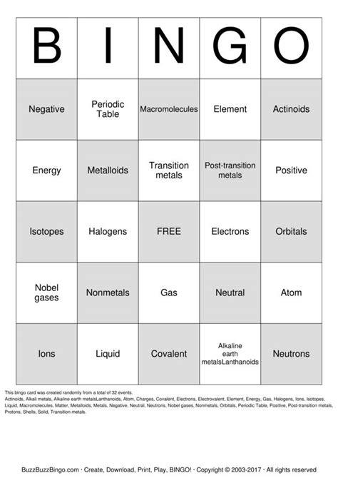 periodic table bingo atomic bingo bingo cards to download print and customize