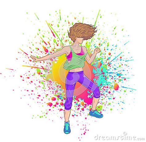 imagenes animadas zumba brunette dancing zumba vector illustration cartoondealer