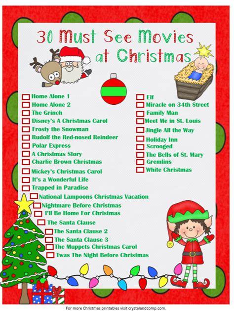 printable christmas movie list family christmas movies