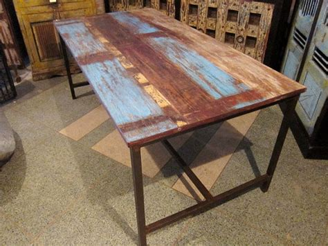Table Rustic Tables Kitchen Kitchen Diner Tables Mefunnysideup blue rustic modern dining table by hammer and hand imports